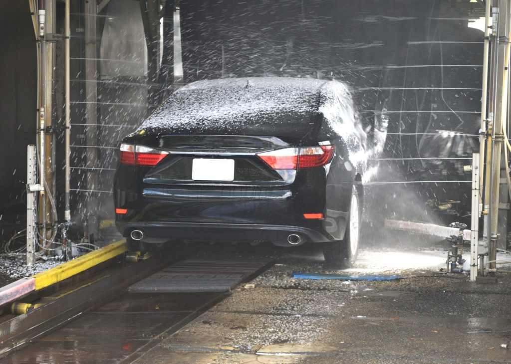 This is image of a car being washed